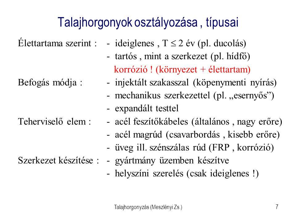 """Talajhorgonyzás (Meszlényi Zs.)8 Injektált szakasszal befogott horgonyok Befogás az injektált szakaszon a talajba """"befeszítve Erőátadás a talaj és a befogási rész közti nyírás által Kedvezően alkalmaz- ható tömör szemcsés talajokban (e  0,6) és kemény agyagokban (I c > 1,0) Magyarországon ez a legelterjedtebb módszer"""