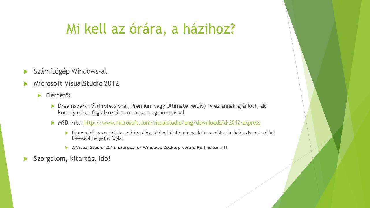 Mi kell az órára, a házihoz?  Számítógép Windows-al  Microsoft VisualStudio 2012  Elérhető:  Dreamspark-ról (Professional, Premium vagy Ultimate v