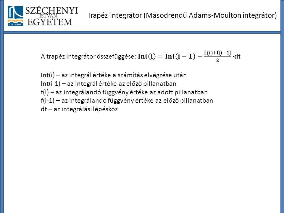 Trapéz integrátor (Másodrendű Adams-Moulton integrátor)