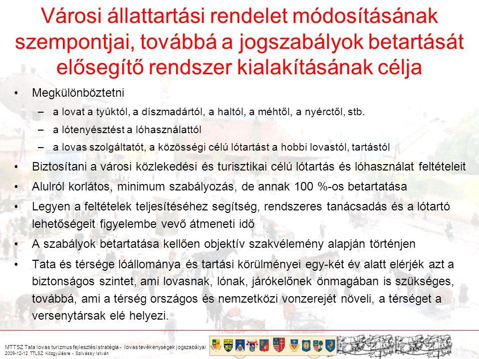 MTTSZ Tata lovas turizmus fejlesztési stratégia - lovas tevékenységek jogszabályai 2009-12-12 TTLSZ Közgyűlésre - Szilvássy István 16/2001.