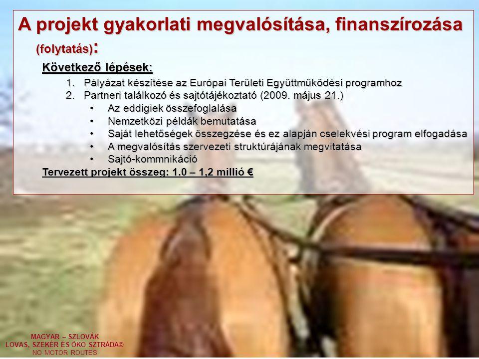 MAGYAR – SZLOVÁK LOVAS, SZEKÉR ÉS ÖKO SZTRÁDA© NO MOTOR ROUTES A projekt gyakorlati megvalósítása, finanszírozása (folytatás) : Következő lépések: 1.Pályázat készítése az Európai Területi Együttműködési programhoz 2.Partneri találkozó és sajtótájékoztató (2009.