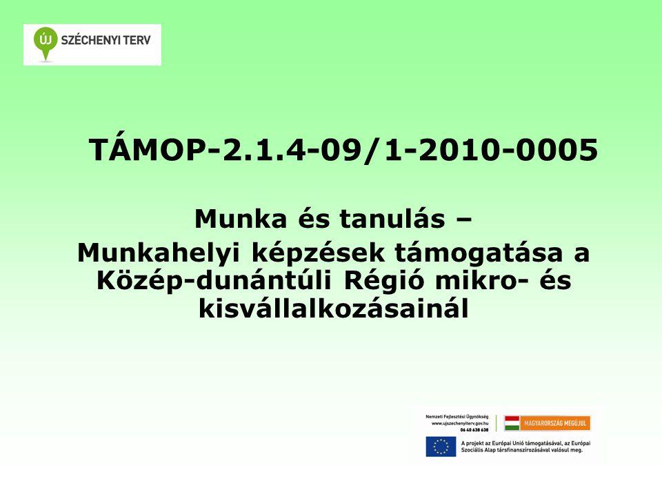 TÁMOP-2.1.4-09/1-2010-0005 Munka és tanulás – Munkahelyi képzések támogatása a Közép-dunántúli Régió mikro- és kisvállalkozásainál