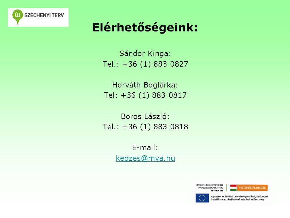 Elérhetőségeink: Sándor Kinga: Tel.: +36 (1) 883 0827 Horváth Boglárka: Tel: +36 (1) 883 0817 Boros László: Tel.: +36 (1) 883 0818 E-mail: kepzes@mva.hu
