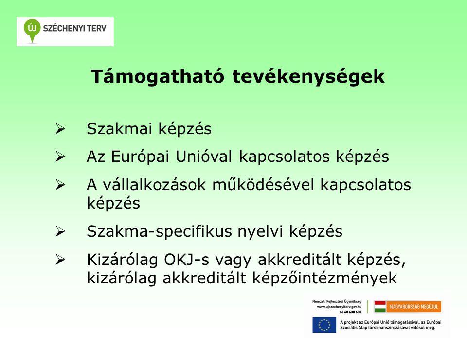 Támogatható tevékenységek  Szakmai képzés  Az Európai Unióval kapcsolatos képzés  A vállalkozások működésével kapcsolatos képzés  Szakma-specifikus nyelvi képzés  Kizárólag OKJ-s vagy akkreditált képzés, kizárólag akkreditált képzőintézmények