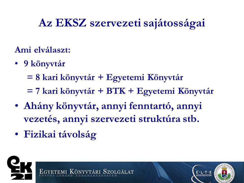 Az EKSZ szervezeti sajátosságai Ami elválaszt: 9 könyvtár = 8 kari könyvtár + Egyetemi Könyvtár = 7 kari könyvtár + BTK + Egyetemi Könyvtár Ahány köny