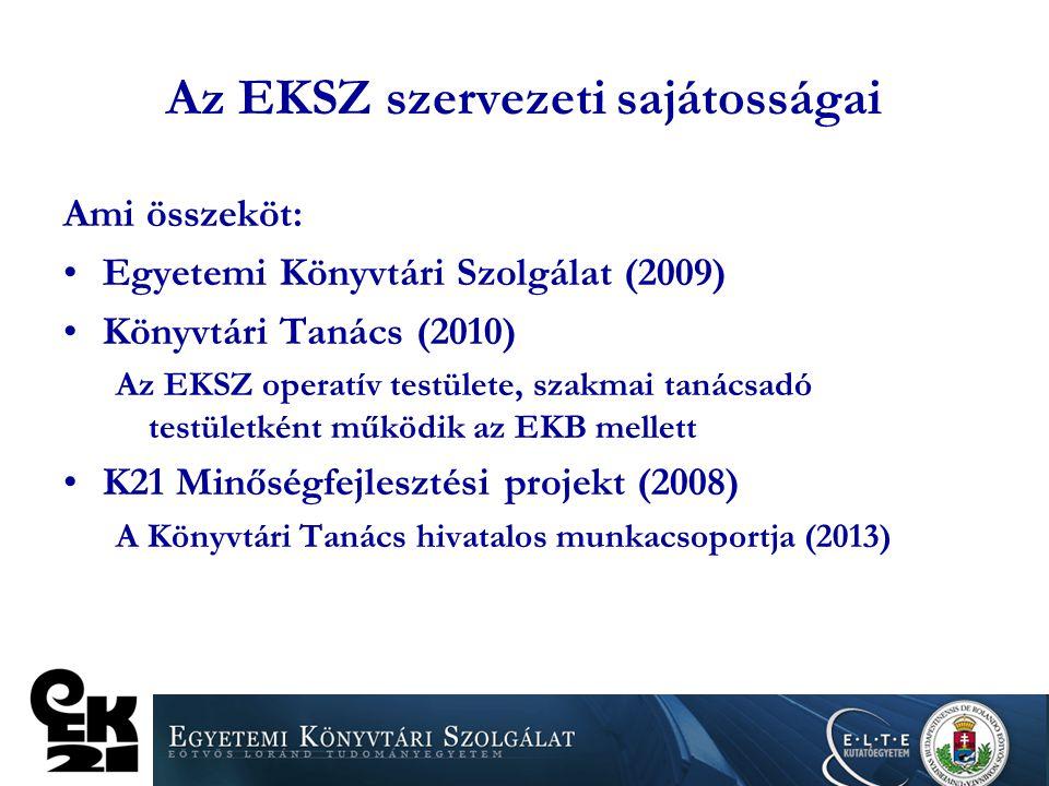 Az EKSZ szervezeti sajátosságai Ami összeköt: Egyetemi Könyvtári Szolgálat (2009) Könyvtári Tanács (2010) Az EKSZ operatív testülete, szakmai tanácsad