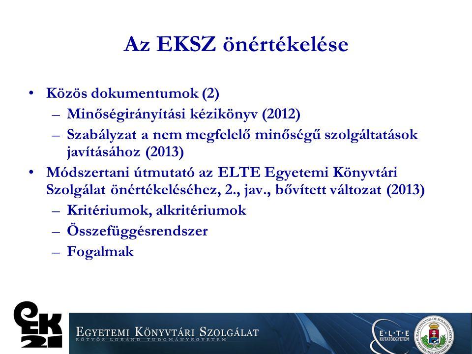 Az EKSZ önértékelése Közös dokumentumok (2) –Minőségirányítási kézikönyv (2012) –Szabályzat a nem megfelelő minőségű szolgáltatások javításához (2013)