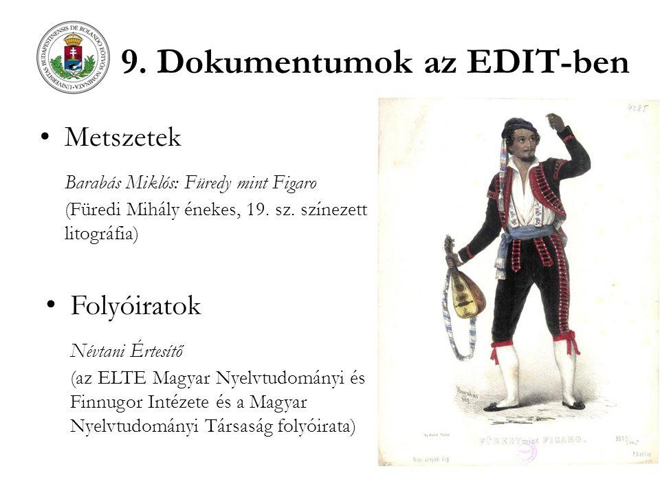 9. Dokumentumok az EDIT-ben Metszetek Barabás Miklós: Füredy mint Figaro (Füredi Mihály énekes, 19. sz. színezett litográfia) Folyóiratok Névtani Érte