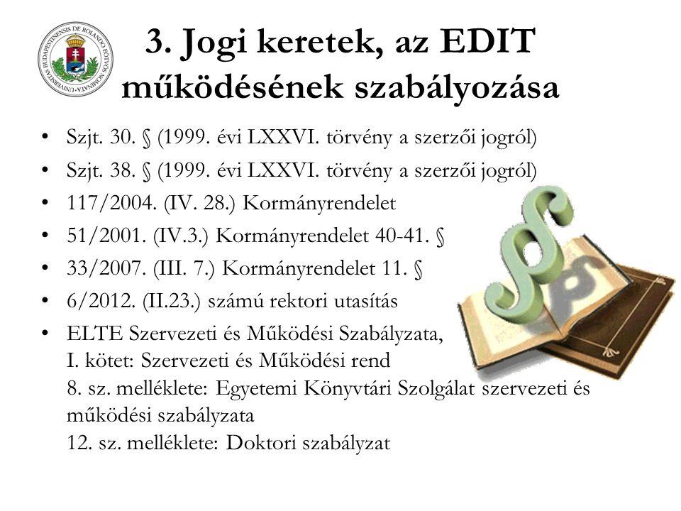 3. Jogi keretek, az EDIT működésének szabályozása Szjt. 30. § (1999. évi LXXVI. törvény a szerzői jogról) Szjt. 38. § (1999. évi LXXVI. törvény a szer