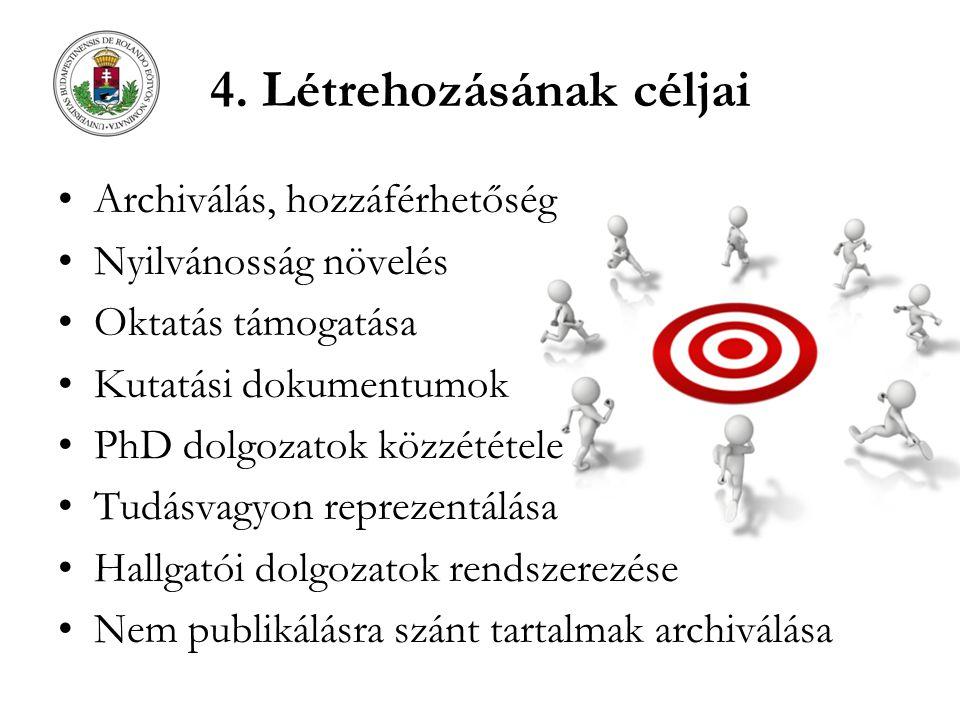 4. Létrehozásának céljai Archiválás, hozzáférhetőség Nyilvánosság növelés Oktatás támogatása Kutatási dokumentumok PhD dolgozatok közzététele Tudásvag