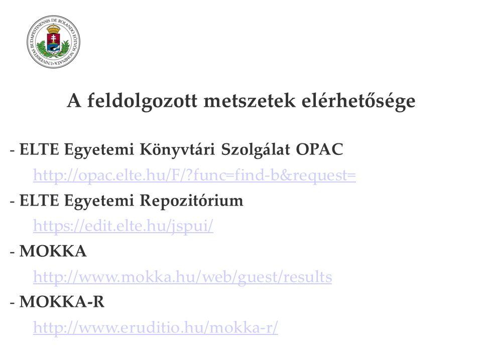 A feldolgozott metszetek elérhetősége - ELTE Egyetemi Könyvtári Szolgálat OPAC http://opac.elte.hu/F/ func=find-b&request= - ELTE Egyetemi Repozitórium https://edit.elte.hu/jspui/ - MOKKA http://www.mokka.hu/web/guest/results - MOKKA-R http://www.eruditio.hu/mokka-r/