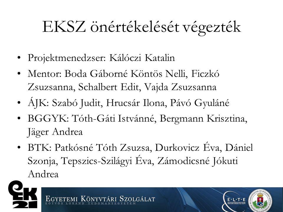 EKSZ önértékelését végezték Projektmenedzser: Kálóczi Katalin Mentor: Boda Gáborné Köntös Nelli, Ficzkó Zsuzsanna, Schalbert Edit, Vajda Zsuzsanna ÁJK