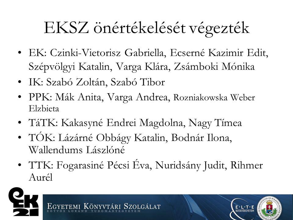EKSZ önértékelését végezték EK: Czinki-Vietorisz Gabriella, Ecserné Kazimir Edit, Szépvölgyi Katalin, Varga Klára, Zsámboki Mónika IK: Szabó Zoltán, S