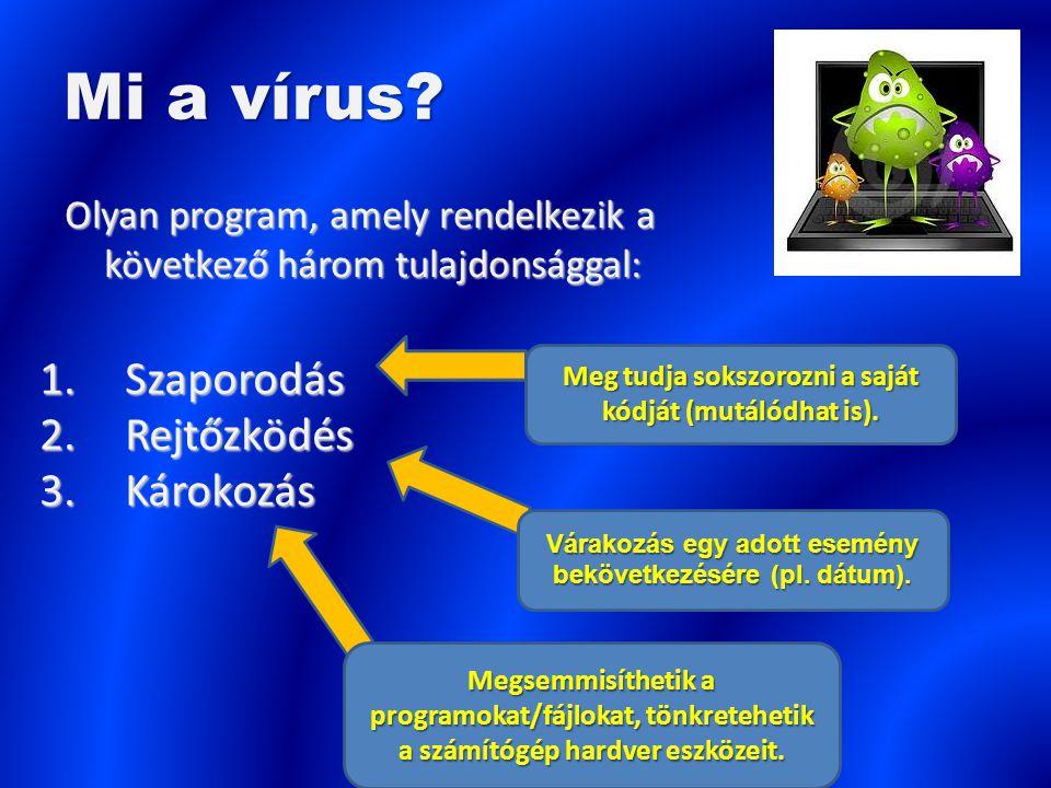 Mi a vírus? Olyan program, amely rendelkezik a következő három tulajdonsággal: 1.Szaporodás 2.Rejtőzködés 3.Károkozás Meg tudja sokszorozni a saját kó