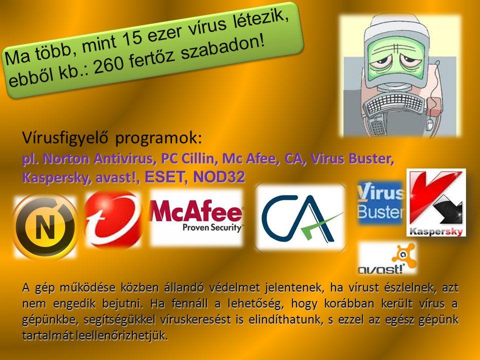 Ma több, mint 15 ezer vírus létezik, ebből kb.: 260 fertőz szabadon! Vírusfigyelő programok: pl. Norton Antivirus, PC Cillin, Mc Afee, CA, Virus Buste