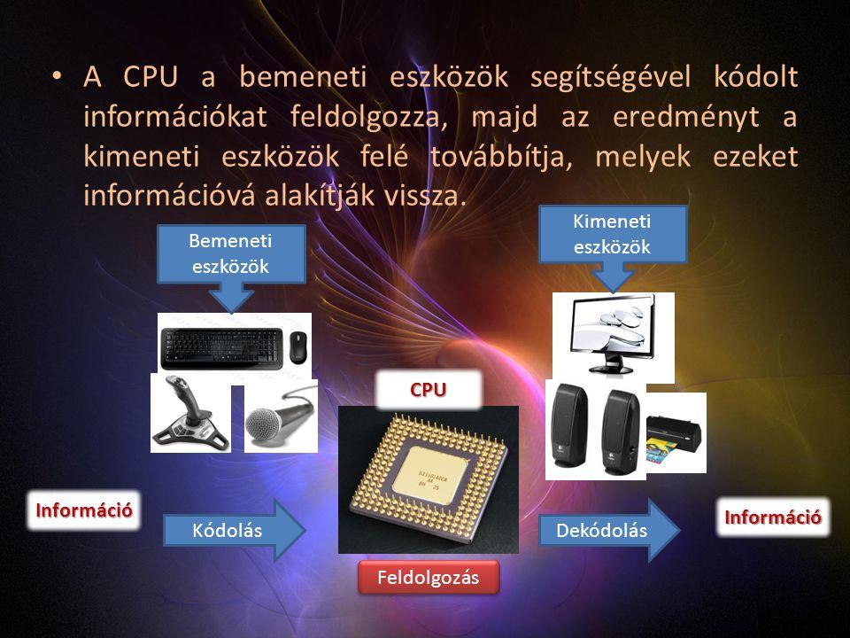 A CPU a bemeneti eszközök segítségével kódolt információkat feldolgozza, majd az eredményt a kimeneti eszközök felé továbbítja, melyek ezeket információvá alakítják vissza.