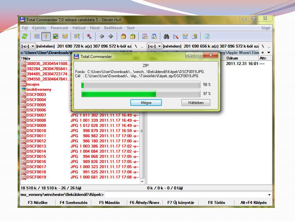 Kitömörítés Total commanderben: tömörített állomány (archívum) kijelölése (hosszan jobb klikk), majd kicsomagolás (extract file) vagy Fájl / Kicsomago