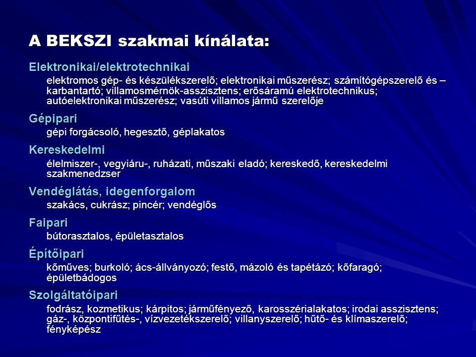 A BEKSZI szakmai kínálata: Elektronikai/elektrotechnikai elektromos gép- és készülékszerelő; elektronikai műszerész; számítógépszerelő és – karbantart