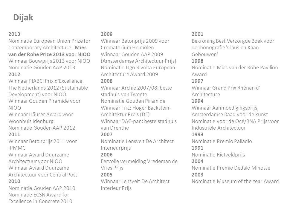 Díjak 2013 Nominatie European Union Prize for Contemporary Architecture - Mies van der Rohe Prize 2013 voor NIOO Winnaar Bouwprijs 2013 voor NIOO Nomi