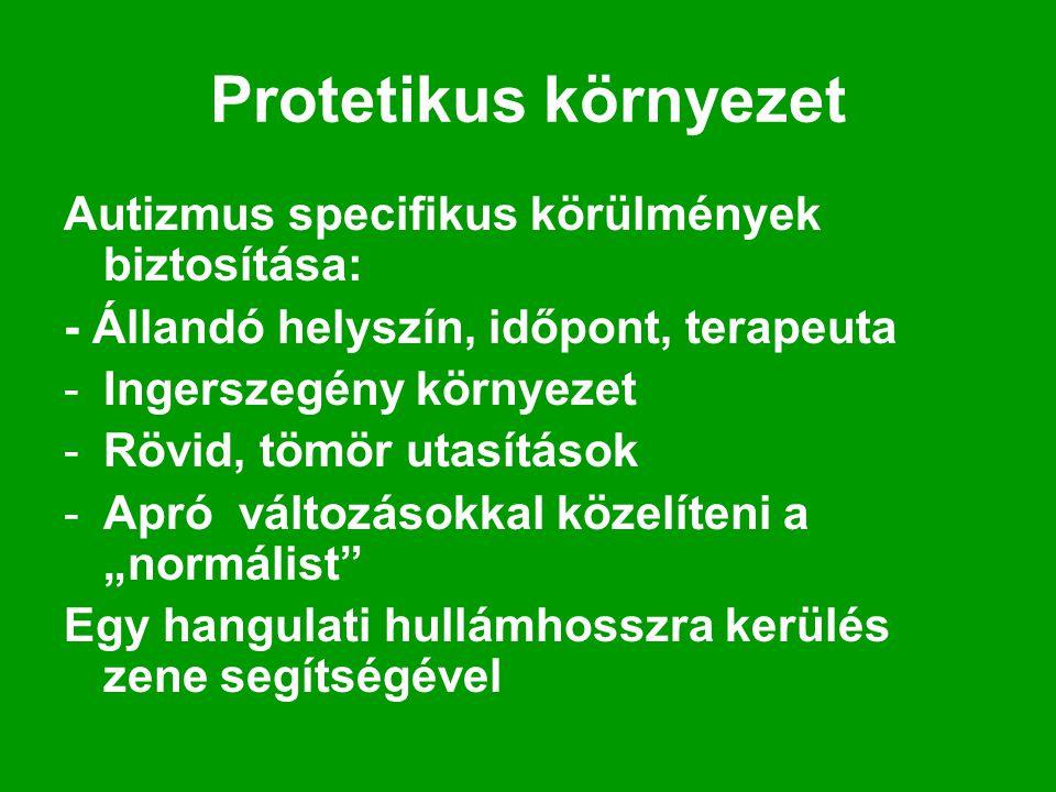 Protetikus környezet Autizmus specifikus körülmények biztosítása: - Állandó helyszín, időpont, terapeuta -Ingerszegény környezet -Rövid, tömör utasítá