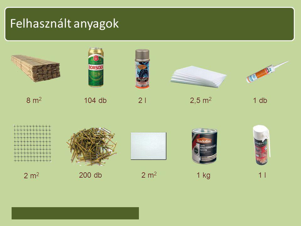 Felhasznált anyagok 8 m 2 104 db2 l2,5 m 2 1 db 2 m 2 200 db2 m 2 1 kg1 l