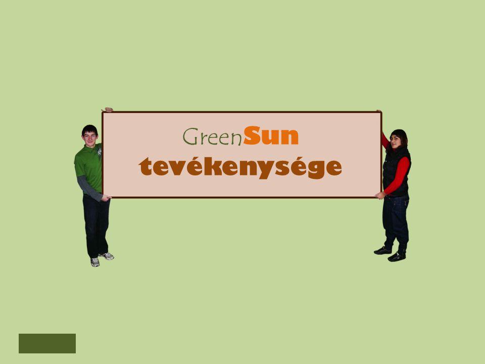 Kutatás Fejlesztési részleg GreenSun tevékenysége Beszerzési részleg Gazdasági részleg Termelési részleg Marketing részleg