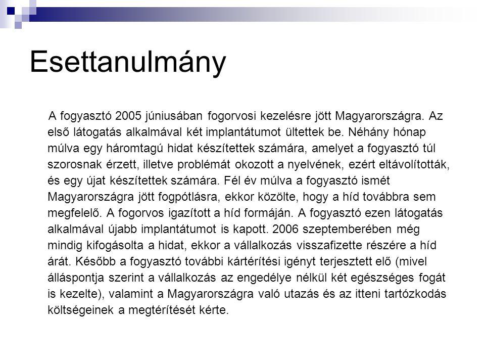 Esettanulmány A fogyasztó 2005 júniusában fogorvosi kezelésre jött Magyarországra.