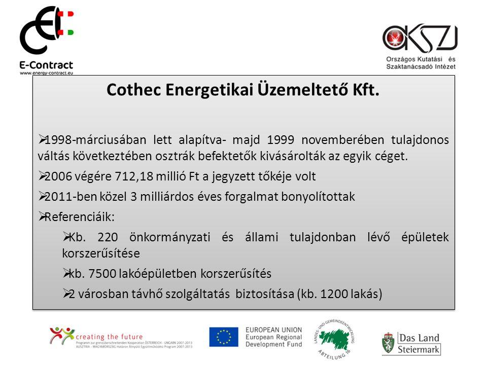 Cothec Energetikai Üzemeltető Kft.  1998-márciusában lett alapítva- majd 1999 novemberében tulajdonos váltás következtében osztrák befektetők kivásár