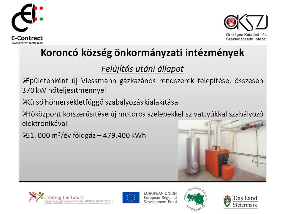 Koroncó község önkormányzati intézmények Felújítás utáni állapot  Épületenként új Viessmann gázkazános rendszerek telepítése, összesen 370 kW hőteljesítménnyel  Külső hőmérsékletfüggő szabályozás kialakítása  Hőközpont korszerűsítése új motoros szelepekkel szivattyúkkal szabályozó elektronikával  51.