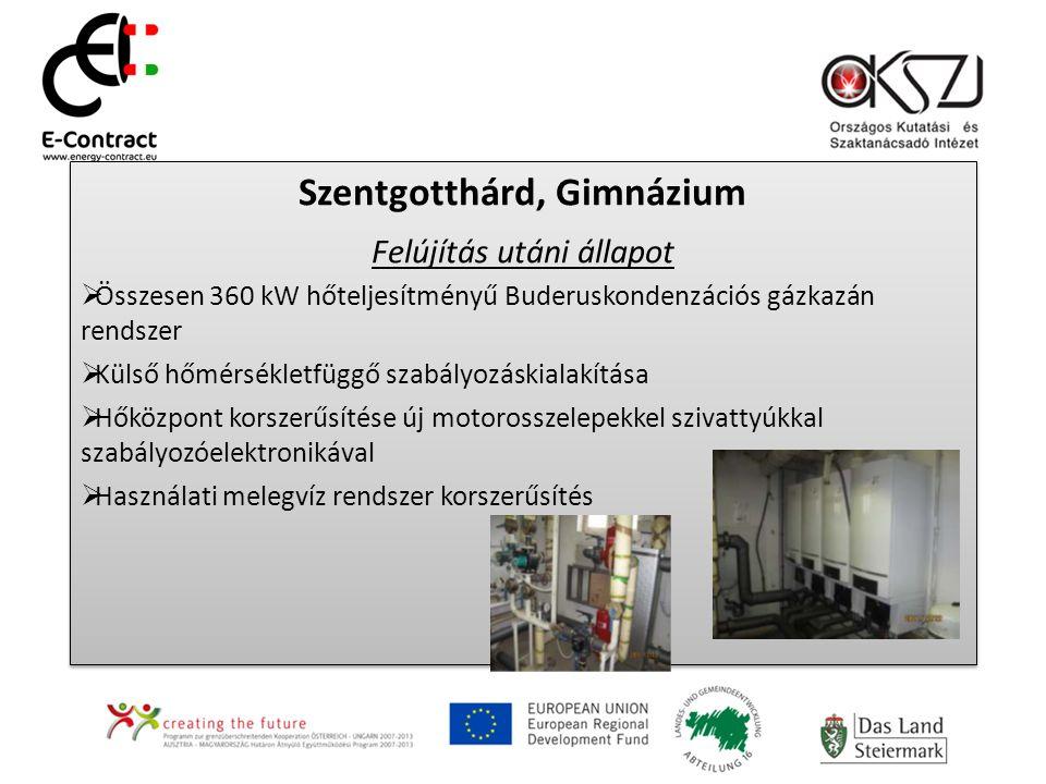 Szentgotthárd, Gimnázium Felújítás utáni állapot  Összesen 360 kW hőteljesítményű Buderuskondenzációs gázkazán rendszer  Külső hőmérsékletfüggő szab