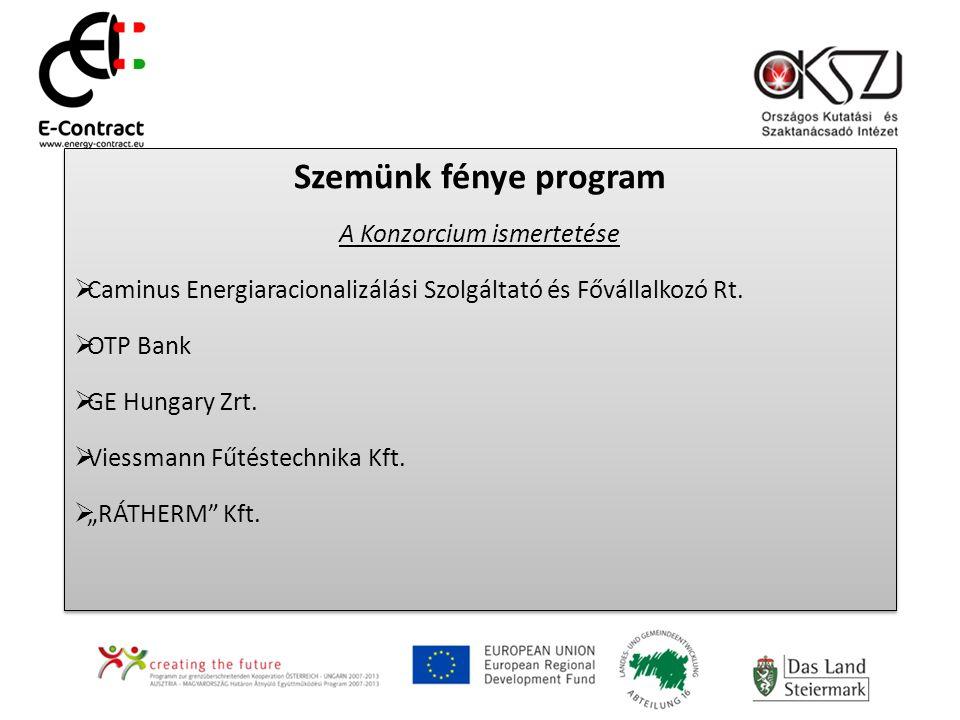 Szemünk fénye program A Konzorcium ismertetése  Caminus Energiaracionalizálási Szolgáltató és Fővállalkozó Rt.  OTP Bank  GE Hungary Zrt.  Viessma