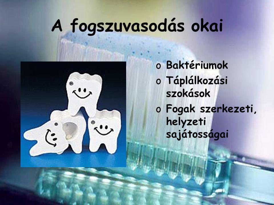 A fogszuvasodás okai oBaktériumok oTáplálkozási szokások oFogak szerkezeti, helyzeti sajátosságai