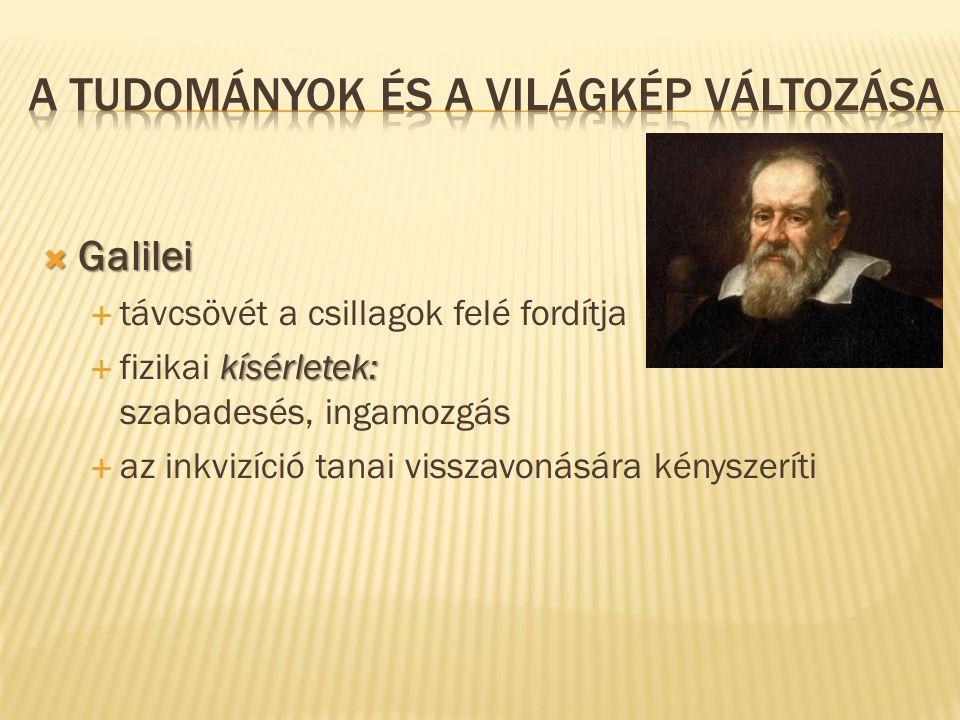  Galilei  távcsövét a csillagok felé fordítja kísérletek:  fizikai kísérletek: szabadesés, ingamozgás  az inkvizíció tanai visszavonására kényszer