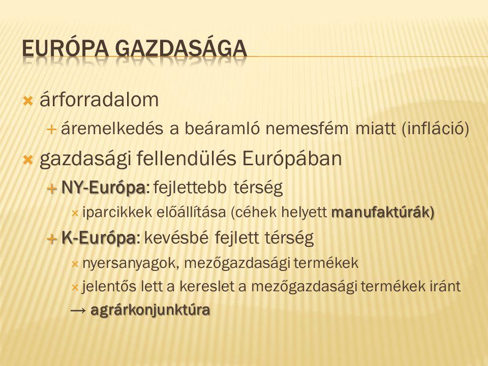  árforradalom  áremelkedés a beáramló nemesfém miatt (infláció)  gazdasági fellendülés Európában  NY-Európa  NY-Európa: fejlettebb térség manufak