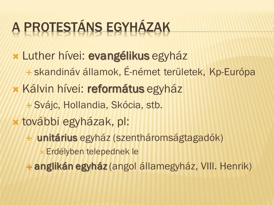 evangélikus  Luther hívei: evangélikus egyház  skandináv államok, É-német területek, Kp-Európa református  Kálvin hívei: református egyház  Svájc,