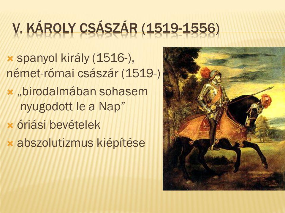 """ spanyol király (1516-), német-római császár (1519-)  """"birodalmában sohasem nyugodott le a Nap""""  óriási bevételek  abszolutizmus kiépítése"""