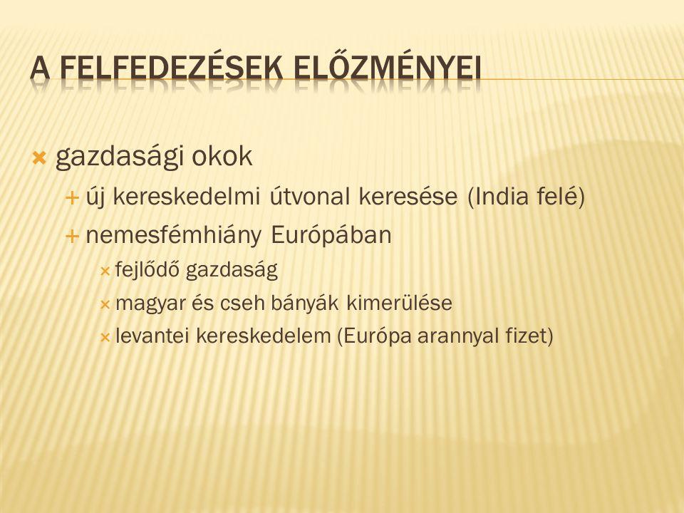  gazdasági okok  új kereskedelmi útvonal keresése (India felé)  nemesfémhiány Európában  fejlődő gazdaság  magyar és cseh bányák kimerülése  lev