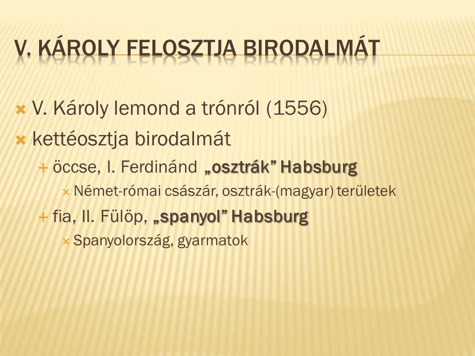 """ V. Károly lemond a trónról (1556)  kettéosztja birodalmát """"osztrák"""" Habsburg  öccse, I. Ferdinánd """"osztrák"""" Habsburg  Német-római császár, osztrá"""