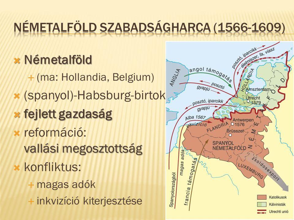  Németalföld  (ma: Hollandia, Belgium)  (spanyol)-Habsburg-birtok  fejlett gazdaság vallási megosztottság  reformáció: vallási megosztottság  ko