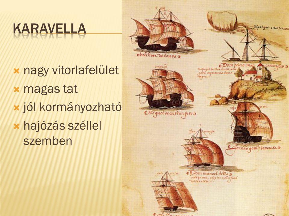  nagy vitorlafelület  magas tat  jól kormányozható  hajózás széllel szemben