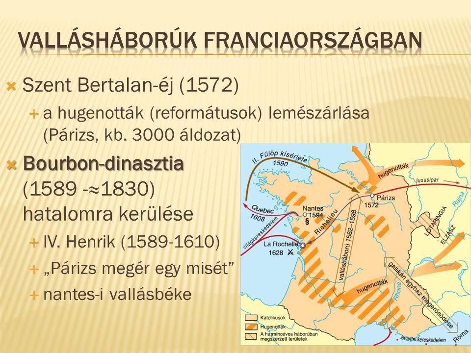  Szent Bertalan-éj (1572)  a hugenották (reformátusok) lemészárlása (Párizs, kb. 3000 áldozat)  Bourbon-dinasztia  Bourbon-dinasztia (1589 -≈1830)