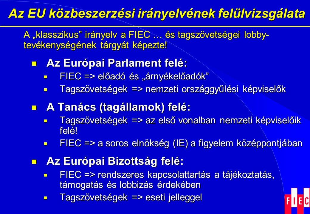 """Az EU közbeszerzési irányelvének felülvizsgálata Az EU közbeszerzési irányelvének felülvizsgálata A """"klasszikus"""" irányelv a FIEC … és tagszövetségei l"""