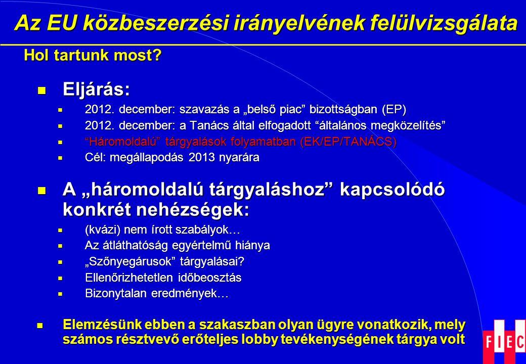 Az EU közbeszerzési irányelvének felülvizsgálata Az EU közbeszerzési irányelvének felülvizsgálata Hol tartunk most?  Eljárás:  2012. december: szava