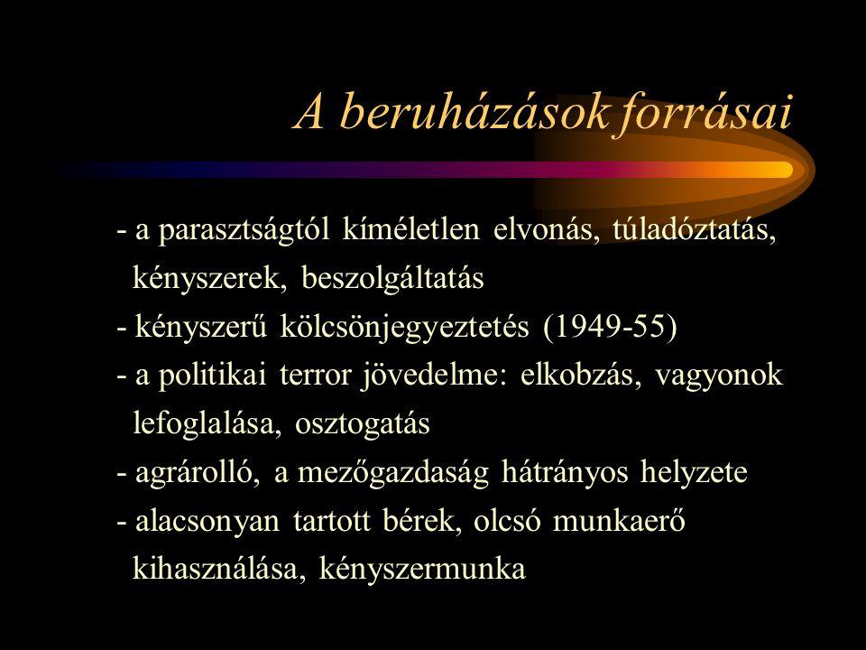A beruházások forrásai - a parasztságtól kíméletlen elvonás, túladóztatás, kényszerek, beszolgáltatás - kényszerű kölcsönjegyeztetés (1949-55) - a pol