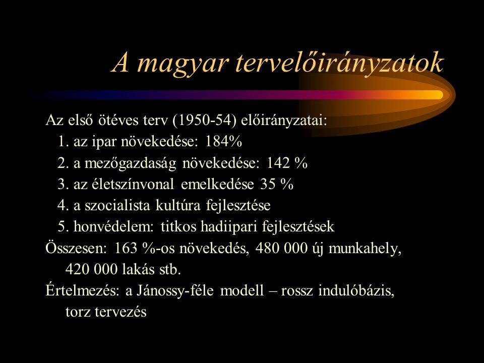 A magyar tervelőirányzatok Az első ötéves terv (1950-54) előirányzatai: 1. az ipar növekedése: 184% 2. a mezőgazdaság növekedése: 142 % 3. az életszín