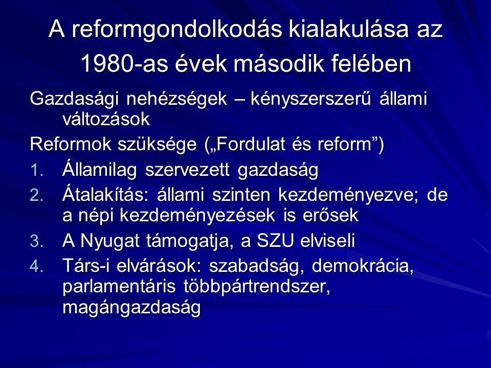 """A reformgondolkodás kialakulása az 1980-as évek második felében Gazdasági nehézségek – kényszerszerű állami változások Reformok szüksége (""""Fordulat és reform ) 1."""