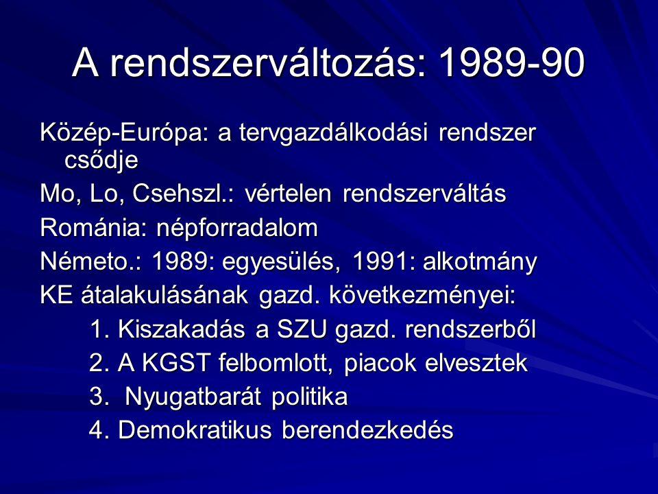 A rendszerváltozás: 1989-90 Közép-Európa: a tervgazdálkodási rendszer csődje Mo, Lo, Csehszl.: vértelen rendszerváltás Románia: népforradalom Németo.: 1989: egyesülés, 1991: alkotmány KE átalakulásának gazd.