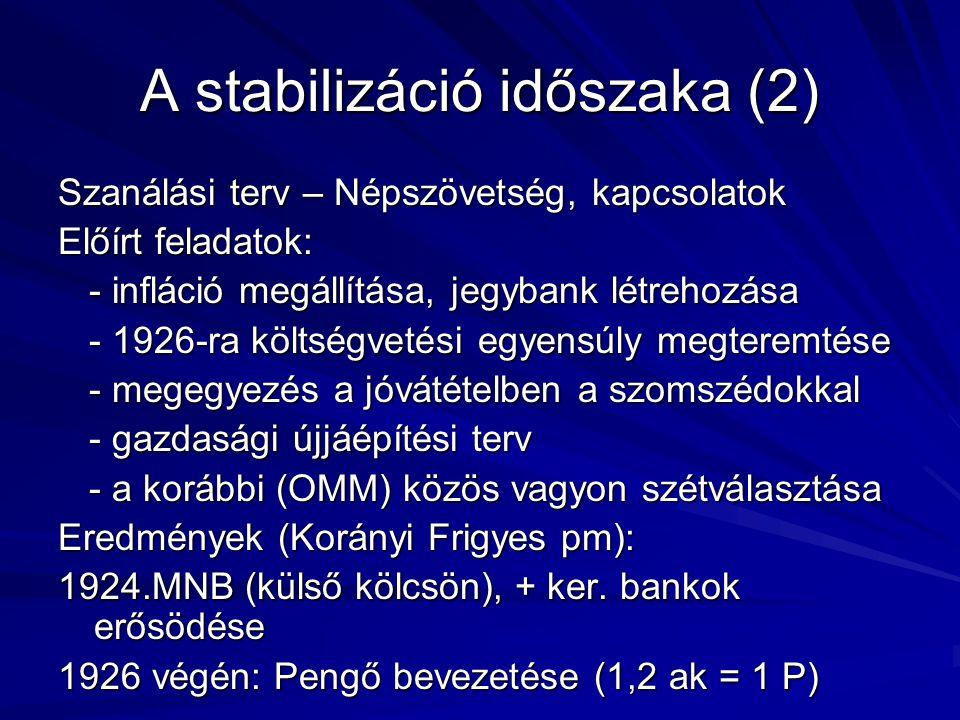 A stabilizáció időszaka (2) Szanálási terv – Népszövetség, kapcsolatok Előírt feladatok: - infláció megállítása, jegybank létrehozása - infláció megál