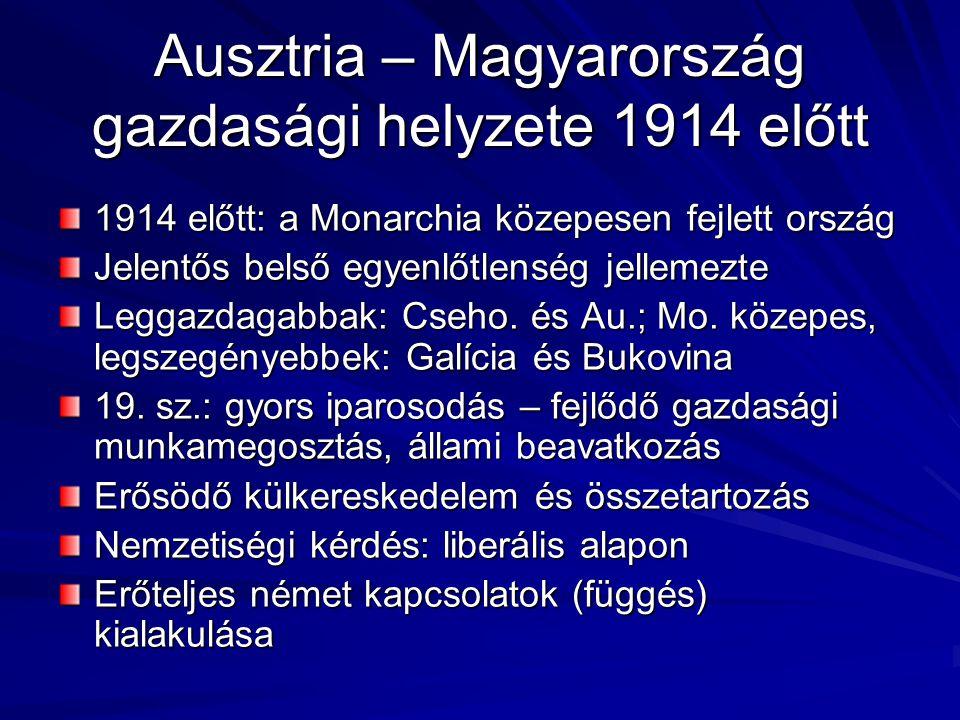 Ausztria – Magyarország gazdasági helyzete 1914 előtt 1914 előtt: a Monarchia közepesen fejlett ország Jelentős belső egyenlőtlenség jellemezte Leggaz