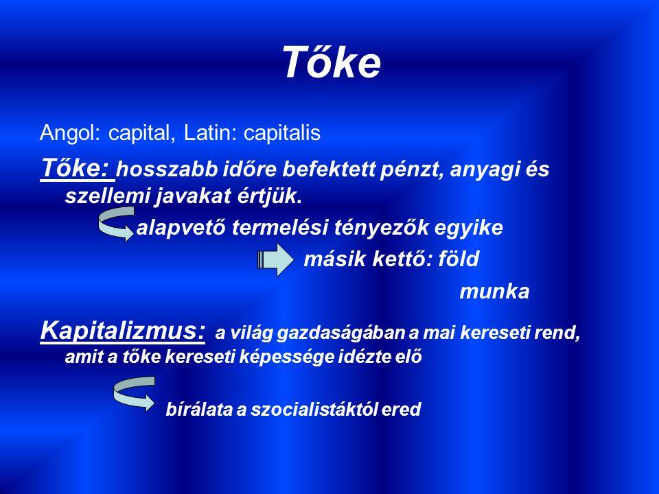 Tőke Angol: capital, Latin: capitalis Tőke: hosszabb időre befektett pénzt, anyagi és szellemi javakat értjük.